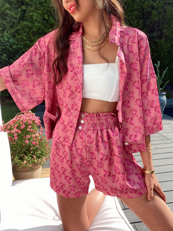 Floral satin set blouse and shorts BONDIE in pink
