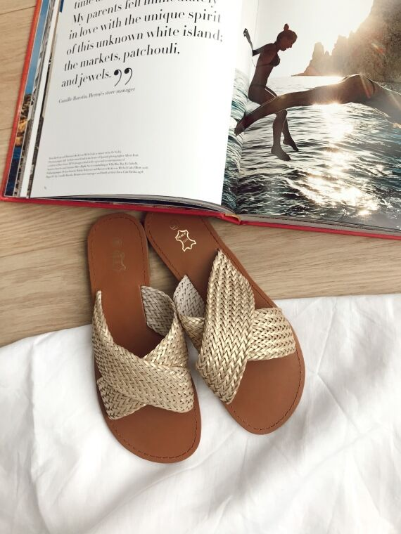 Flat sandals braided straps MILLER in gold