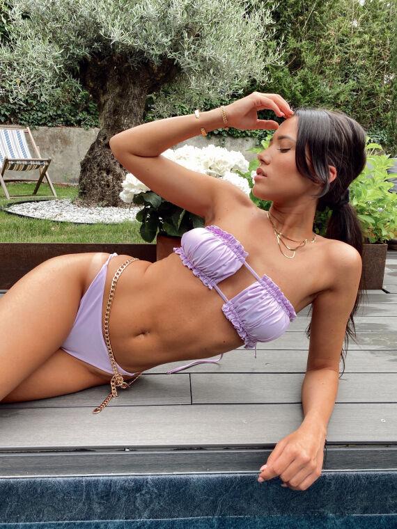Bikini bandeau avec plis ARIEL lilas