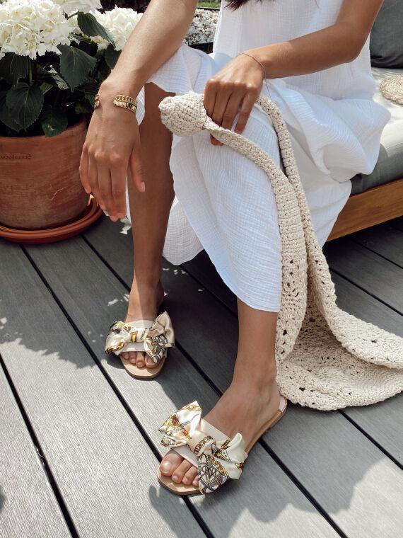 Flat sandals scarf strap SHERRY in beige