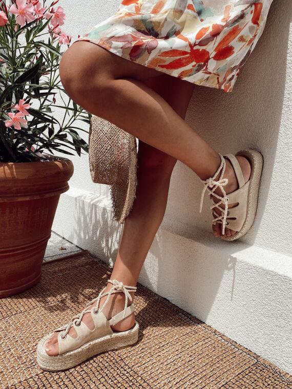 Thick-soled espadrilles with lacing FLAMMA in beige