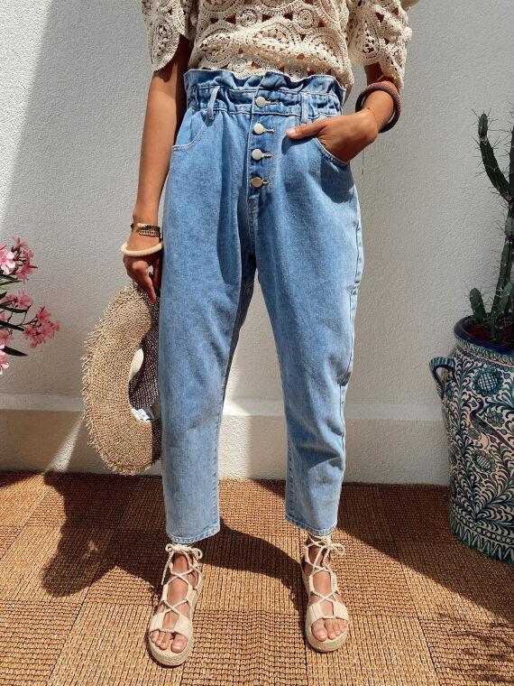 Paperbag mom jeans EMILIO in blue