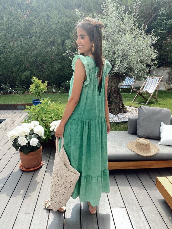 Long cotton gauze dress ruffled sleeves BENNIE in green
