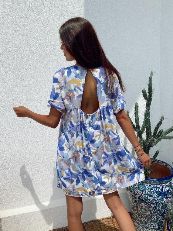 Leaf print combi-short dress WINNIE in blue