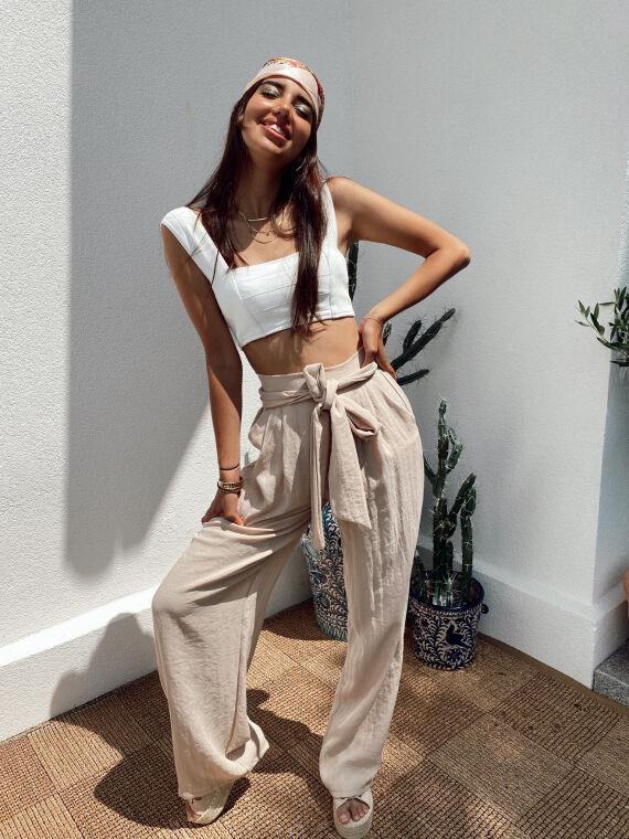 Pantalon large effet lin EDOM beige