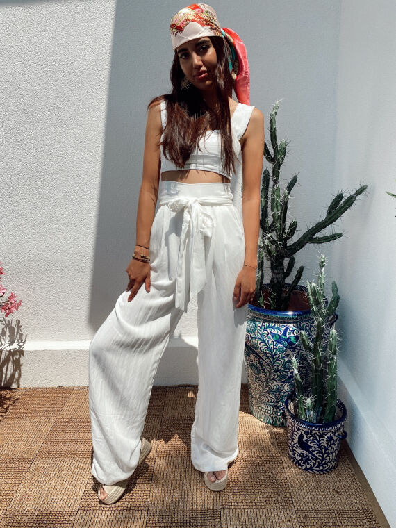 Pantalon large effet lin EDOM blanc