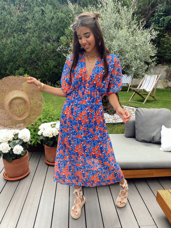 Long floral dress plunging neck PIPA in blue