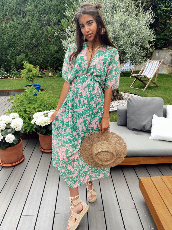 Long floral dress plunging neck PIPA in green