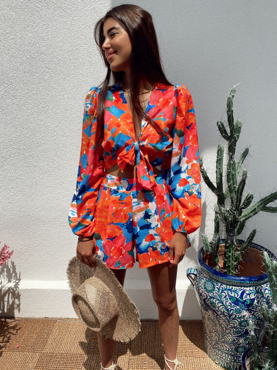 Floral set blouse and shorts ORLA in orange