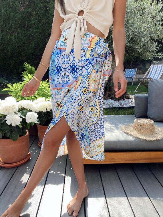 Long printed skirt side knot CELESTIA in blue
