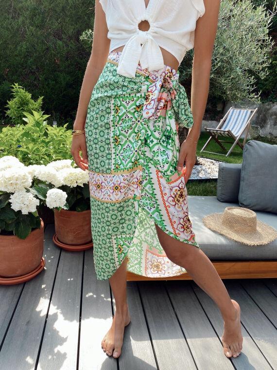 Long printed skirt side knot CELESTIA in green