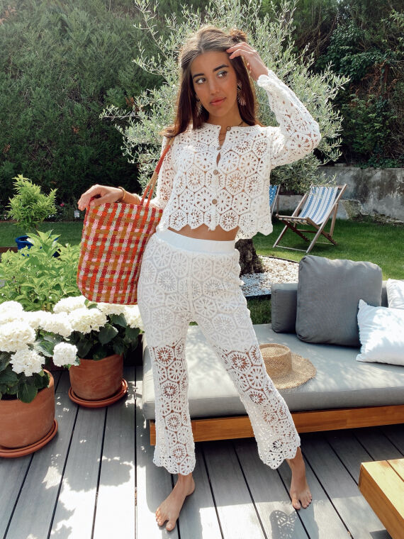 Crochet co-ord top and trouser YOLIE in white