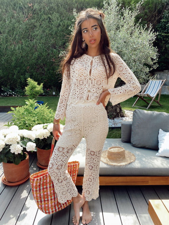Crochet co-ord top and trouser YOLIE in beige
