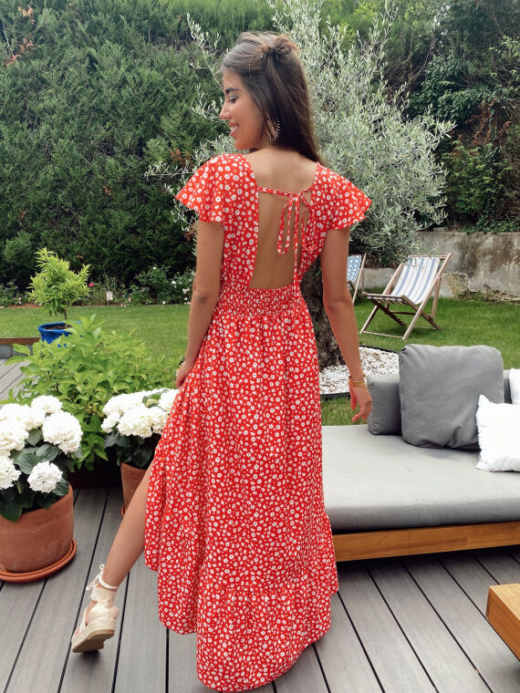 Robe longue fleurie COSTELLO rouge