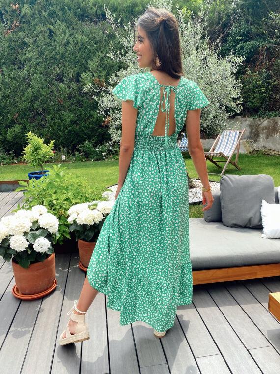 Robe longue fleurie COSTELLO verte