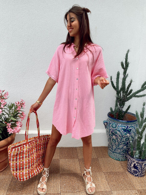 Cotton gauze shirt dress with embroidered ruffles BESS in fuchsia