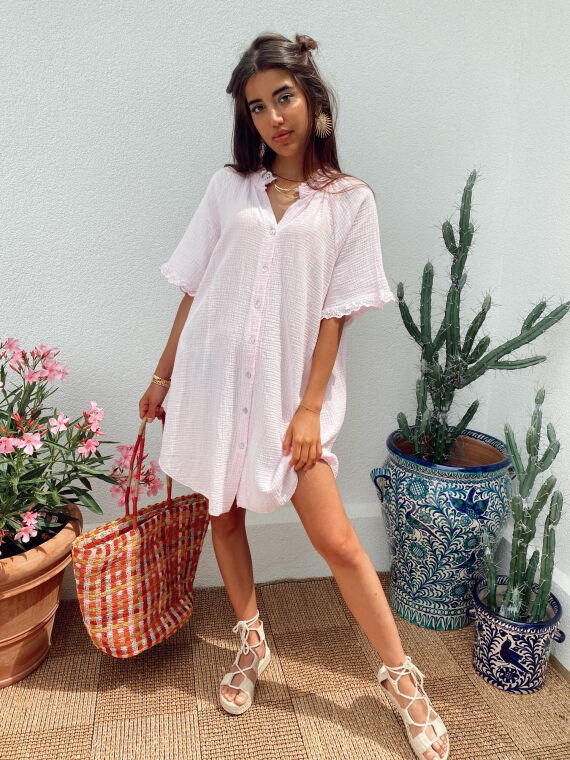 Cotton gauze shirt dress with embroidered ruffles BESS in pale pink