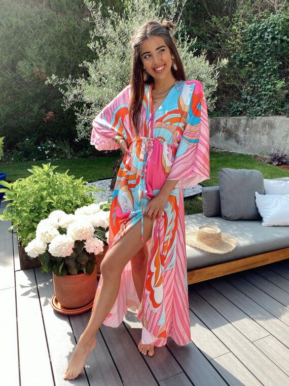 Robe longue à motifs roses VALETTA