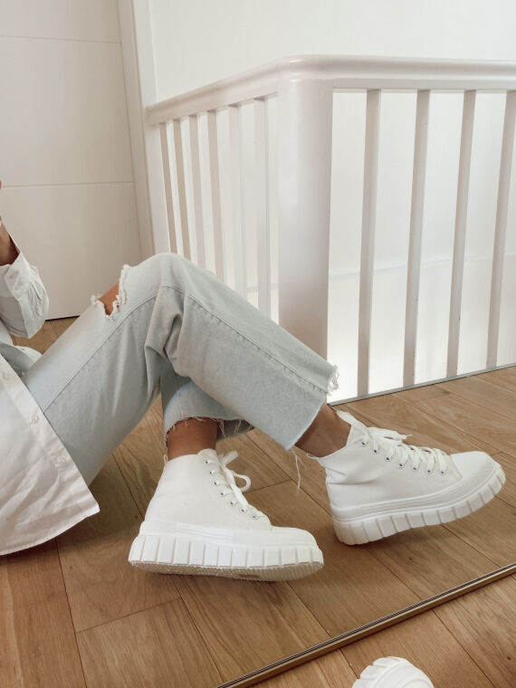 Chunky canvas sneakers EMPIRE in white