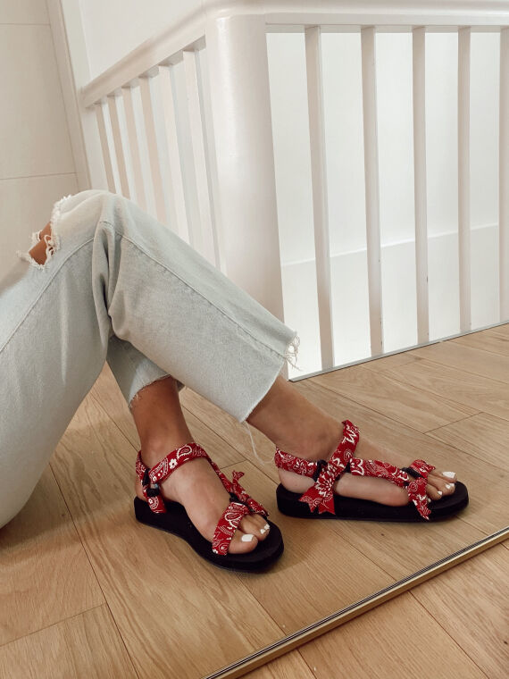 Bandana print sandals DYLAN in red