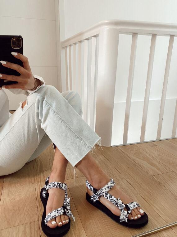 Bandana print sandals DYLAN in white
