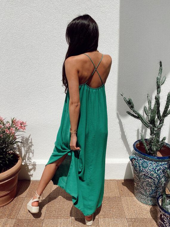 Long dress crossed straps JANELLE in green