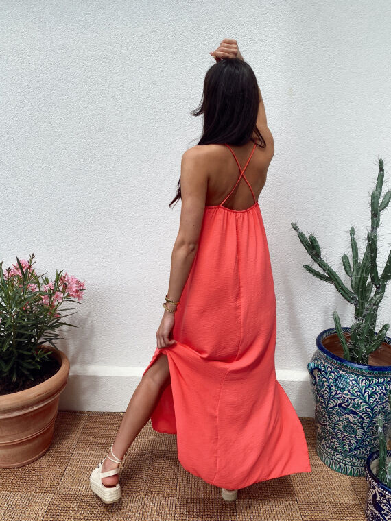 Long dress crossed straps JANELLE in coral