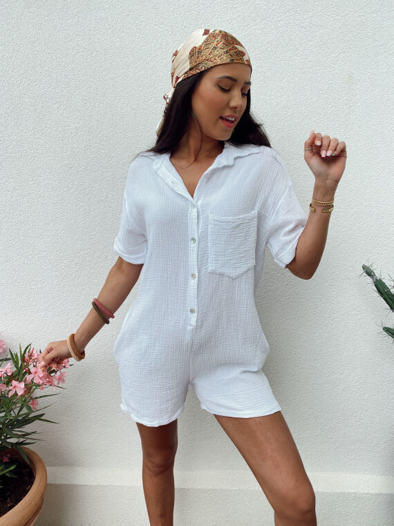 Cotton gauze combi-short FITZ in white