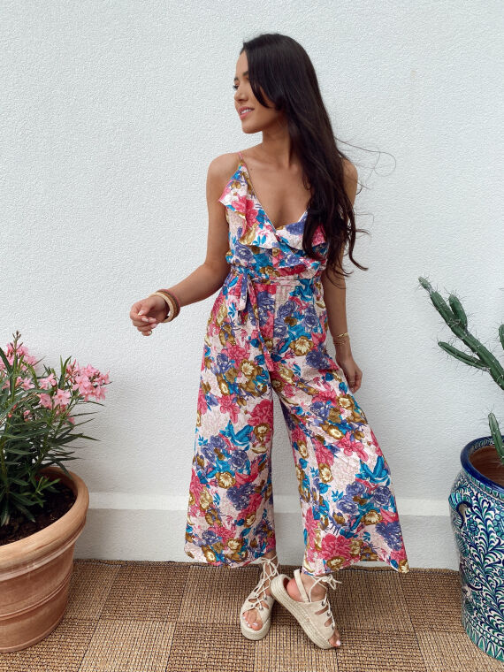 Floral jumpsuit ruffle chest CHANTAL in pink