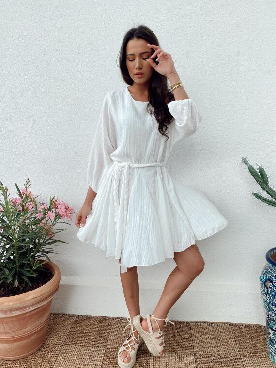 Linen feel dress braided belt ARLO in white
