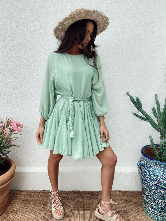 Linen feel dress braided belt ARLO in green