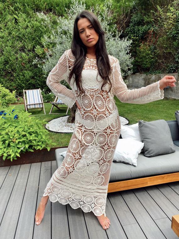 Long crochet dress AJACCIO in ecru