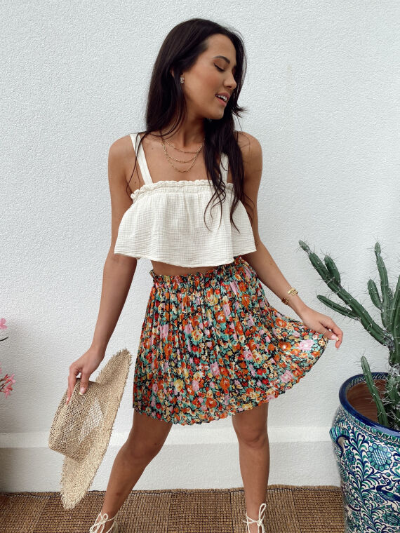 Pleated floral skirt KALINA in black