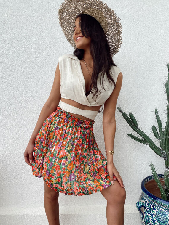 Pleated floral skirt KALINA in white