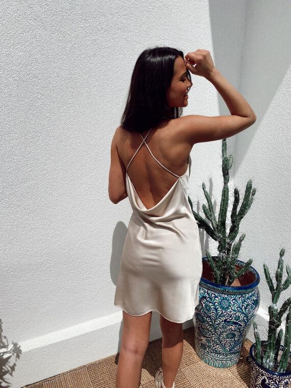 Satin dress crossed straps SIMONA in beige