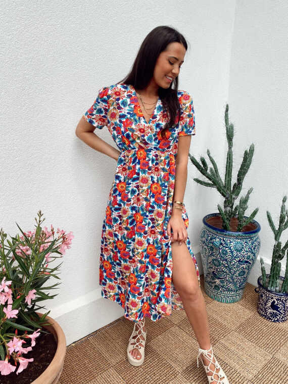 Long floral dress BAMBINA in white