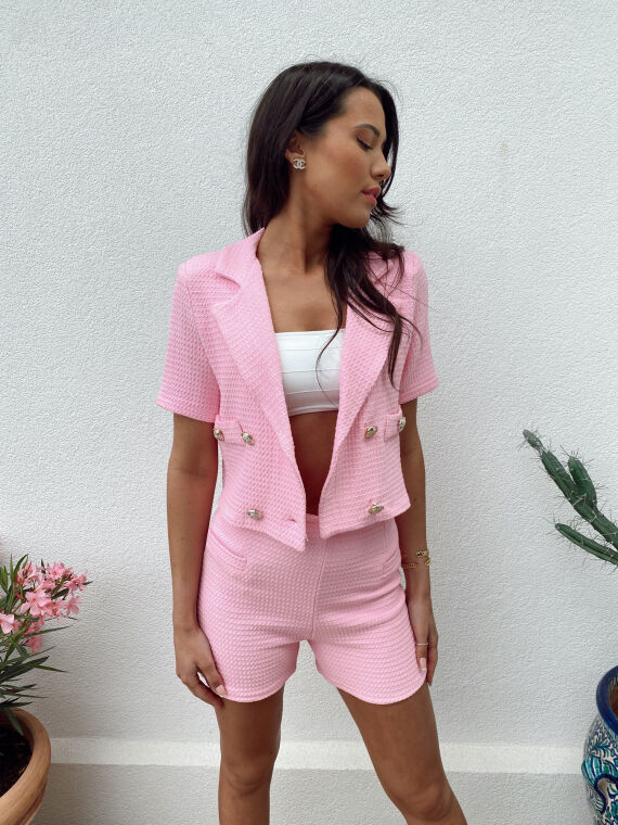 Tweed co-ord jacket and shorts REMY in pink