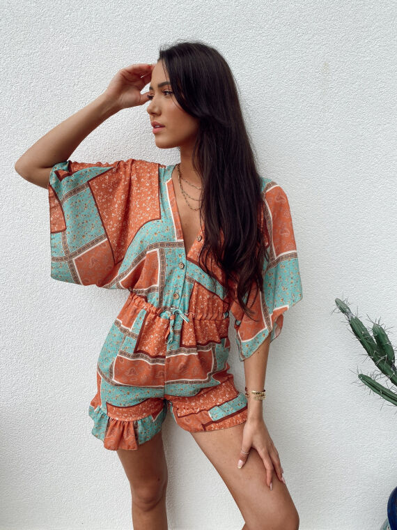 Floral combi-short flare sleeves MELISSA in terracotta