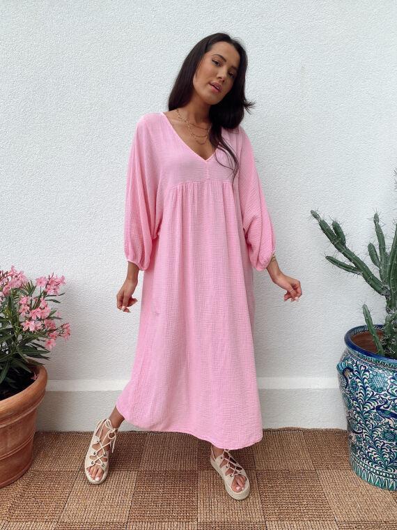 Robe longue babydoll gaze de coton MAGICA rose