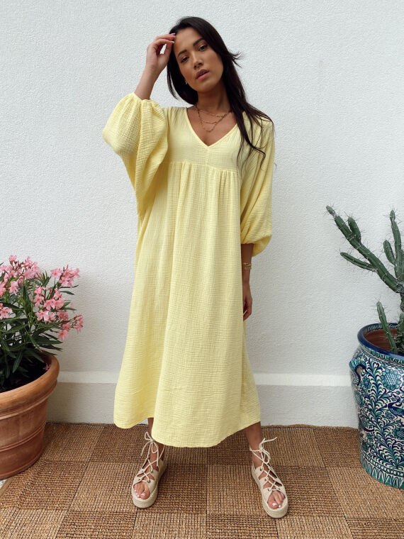 Long babydoll cotton gauze dress MAGICA in yellow
