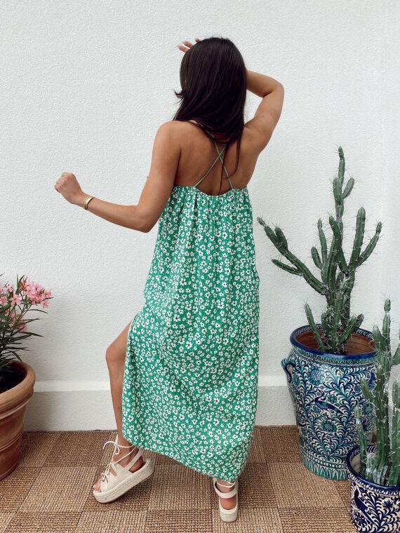 Long floral dress crossed straps BEV in green