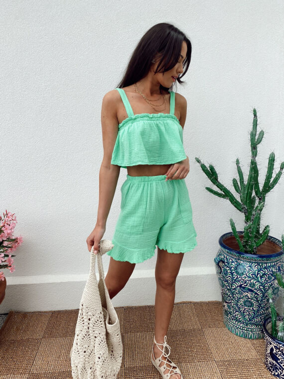 Cotton gauze co-ord top and shorts SALTO in green