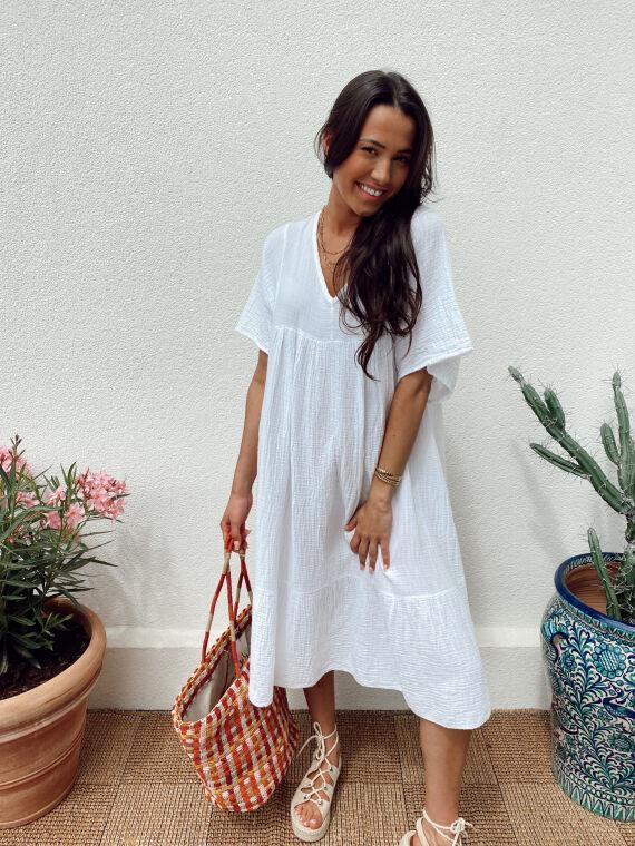 Long cotton gauze dress WILDE in white