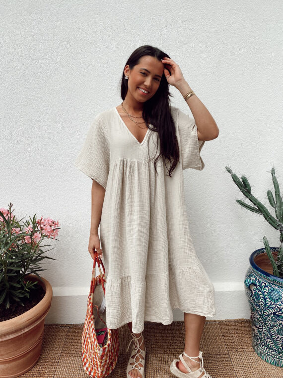 Long cotton gauze dress WILDE in beige