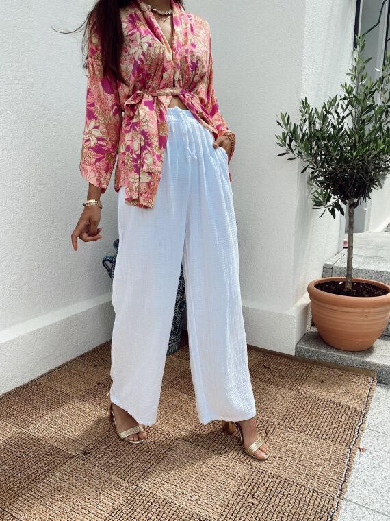 Pantalon large en gaze de coton BONSAI blanc