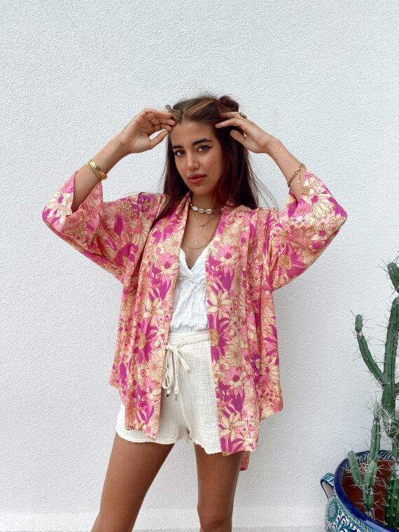 Kimono fleuri NIL violet