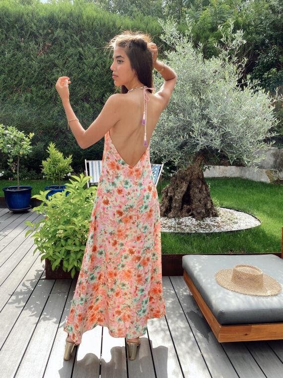 Robe longue fleurie dos nu JACKIE rose