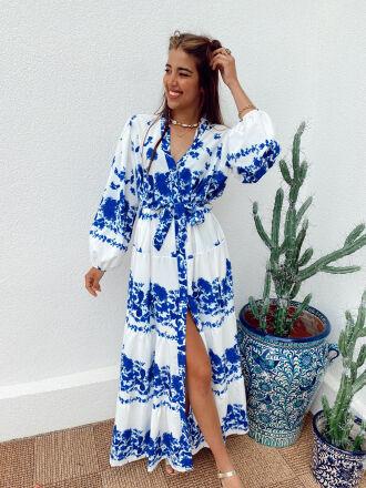 Robe longue fleurie HIROMI bleue