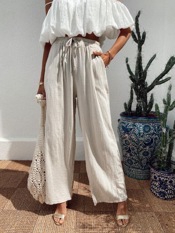 Pantalon large en gaze de coton BONSAI beige