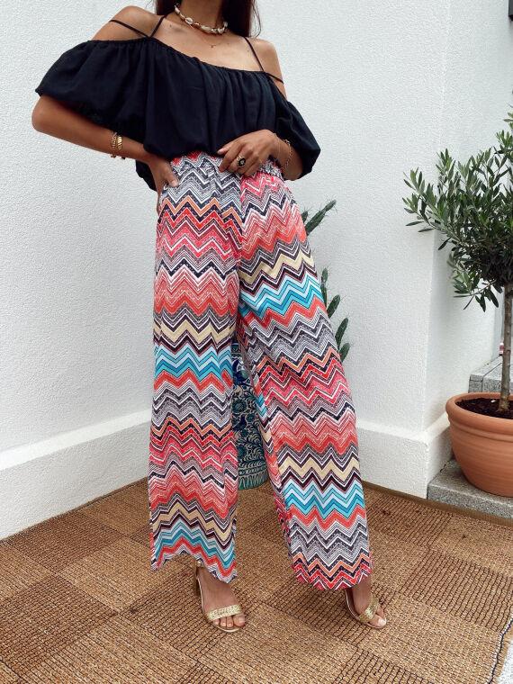 Pantalon évasé à motifs zig zag JARGO